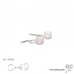 Boucles d'oreilles quartz rose et argent massif 925, pierre naturelle, pendantes, création by Alicia