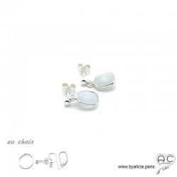 Boucles d'oreilles pierre de lune et argent massif 925, pierre naturelle, pendantes, création by Alicia