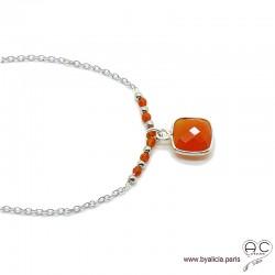 Collier cornaline entouré des petites cornalines orange sur une chaîne en argent massif 925, ras de cou, création by Alicia