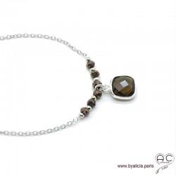 Collier quartz fumé entouré des petites pyrites sur une chaîne en argent massif, ras de cou, création by Alicia