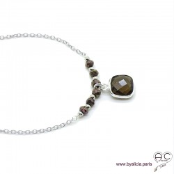 Collier quartz fumé entouré des petits pyrites sur une chaîne en argent massif, ras de cou, création by Alicia