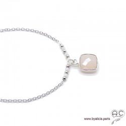 Collier quartz rose entouré des petits opales roses sur une chaîne en argent massif, ras de cou, création by Alicia