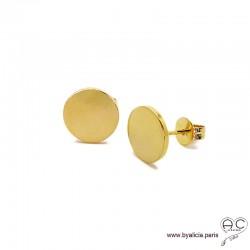 Boucles d'oreilles NOELY puces rondes en plaqué or, clous, femme
