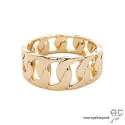 Bague anneau maillons chaîne en plaqué or, femme, tendance