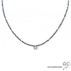 Collier LALY en hématite et zirconium brillant, pierres naturelles et plaqué or, ras de cou, fin, tendance, création by Alicia