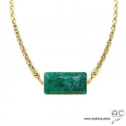 Collier EMMY émeraude et grosse chaîne en plaqué or, création unique, ras de cou, pierre précieuse, tendance