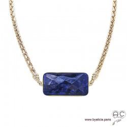 Collier EMMY saphir et grosse chaîne en plaqué or, création unique, ras de cou, pierre précieuse, tendance