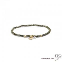 Bracelet pyrite, pierre naturelle, pampille médaille en plaqué or et petit brillant en cristal, bohème, création by Alicia