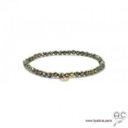 Bracelet pyrite, pierre naturelle, pampille médaille en plaqué or martelé, bohème, création by Alicia