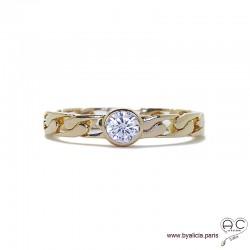 Bague solitaire, zirconium brillant sur anneau motif chaîne en plaqué or, femme, intemporelle