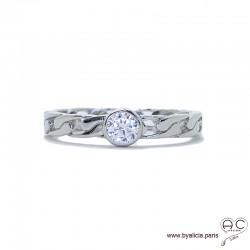 Bague solitaire, zirconium brillant sur anneau motif chaîne en argent massif rhodié, femme, intemporelle