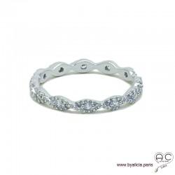 Bague anneau fin vagues sertie de zirconium brillant tour complet en argent massif 925 rhodié, alliance, empilable, femme
