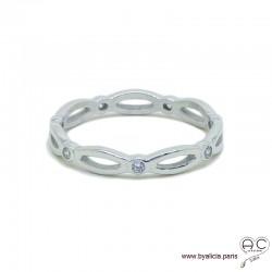 Bague anneau fin chaîne sertie de zirconium brillant tour complet en argent 925 rhodié, alliance, empilable, femme