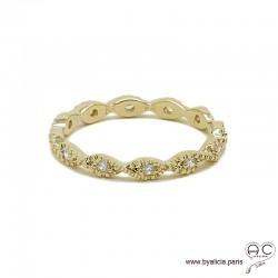 Bague anneau fin vagues sertie de zirconium brillant tour complet en plaqué or, alliance, empilable, femme