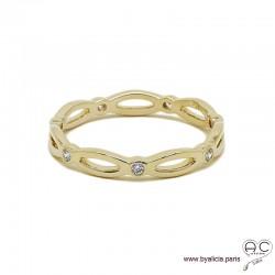 Bague anneau fin chaîne sertie de zirconium brillant tour complet en plaqué or, alliance, empilable, femme