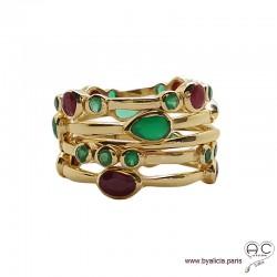 Bague 5 anneaux empilables fins serties de rubis et onyx verte tour complet en plaqué or, femme