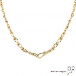 Collier OKSANA-F2 chaîne gros maillons avec deux grand fermoir mousqueton en plaqué or, création by Alicia