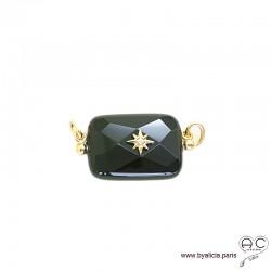 Pendentif JILL agete noire pour les chaînes à gros maillons avec 2 crechets, pierre fine rectangulaire, étoile, plaqué or
