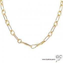Collier ALAE-F2 chaîne gros maillons avec deux grands fermoirs crochets allongés en plaqué or, création by Alicia