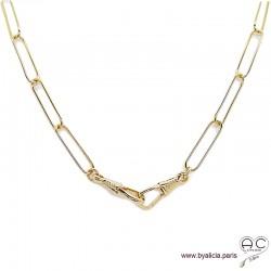 Collier, sautoir CARRY-F2 chaîne gros maillons rectangulaires en plaqué or, tendance, création by Alicia