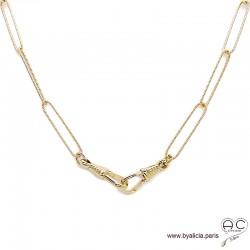 Collier CAMIE-F2 chaîne longs maillons en plaqué or diamanté avec deux grands fermoirs crochets allongés, création by Alicia