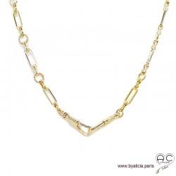 Collier ADELE-F2 chaîne gros maillons en plaqué or, ras de cou, tendance, création by Alicia