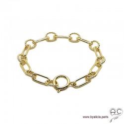 Bracelet ALAE chaîne gros maillons avec grand fermoir rond, plaqué or, tendance, création by Alicia