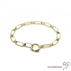 Bracelet OLIVIA chaîne gros maillons avec grand fermoir rond, plaqué or, tendance, création by Alicia
