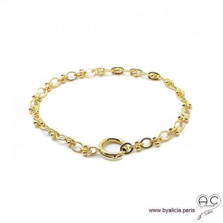 Bracelet OKSANA chaîne gros maillons avec grand fermoir rond, plaqué or, tendance, création by Alicia