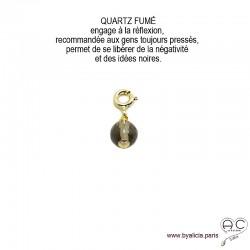 Breloque quartz fumé, pierre fine marron pour les bracelets et les colliers en chaînes gros maillons, créations by Alicia