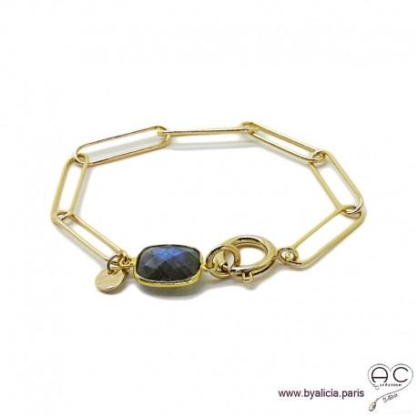 Bracelet CARRY-LABRADORITE chaîne gros maillons rectangulaires avec grand fermoir rond, plaqué or, tendance, création by Alicia