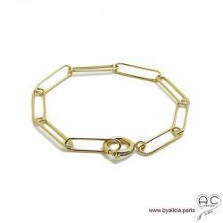 Bracelet CARRY chaîne gros maillons rectangulaires avec grand fermoir rond, plaqué or, tendance, création by Alicia