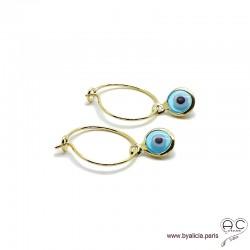 Boucles d'oreilles, petites créoles avec un pendant oeil, en plaqué or, femme, création by Alicia