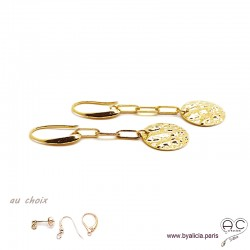 Boucles d'oreilles, médaille martelé sur chaîne, en plaqué or, pendantes, longues, choix des différentes attaches, femme