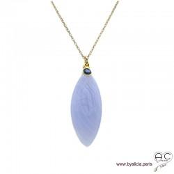Collier pendentif calcédoine bleue et saphir, plaqué or, fait main, bohème chic