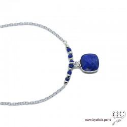 Collier lapis lazuli entouré des petites pierres sur une chaîne en argent massif, ras de cou, création by Alicia