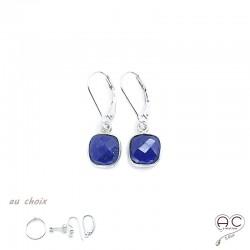 Boucles d'oreilles lapis lazuli carré, pierre naturelle et argent 925, pendantes, création