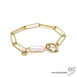 Bracelet CARRY-PERLE chaîne gros maillons rectangulaires avec grand fermoir rond, plaqué or, tendance, création by Alicia