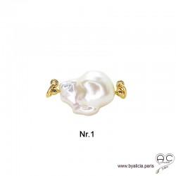 Pendentif JILL grande perle baroque pour les chaînes à gros maillons avec 2 crechets, plaqué or, création by Alicia