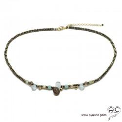 Collier en pyrite et méli-mélo de pierres naturelles bleues, perles de culture, plaqué or, ras de cou, fin, création by Alicia