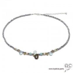 Collier en aigue marine et hématite, méli-mélo de pierres naturelles, perles de culture, argent, ras de cou, création by Alicia