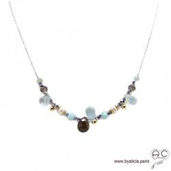 Collier aigue marine, andalusite, perles de culture, méli-mélo de pierres naturelles, chaîne argent rhodié, création by Alicia