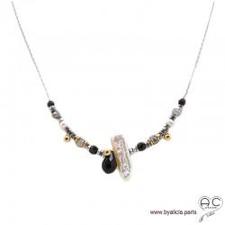 Collier perle baroque, méli-mélo de pierres naturelles noir et gris, chaîne argent rhodié, création by Alicia