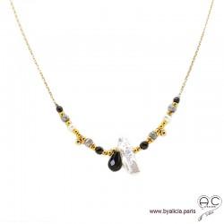 Collier perle baroque, méli-mélo de pierres naturelles noir et gris, chaîne plaqué or, création by Alicia
