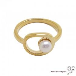 Bague avec perle de culture d'eau douce blanche, ovale en plaqué or, femme