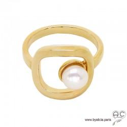 Bague avec perle de culture d'eau douce blanche, carré en plaqué or 3MIC, femme