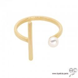 Bague avec perle de culture d'eau douce blanche, anneau ouvert et une barrette en plaqué or 3MIC, femme