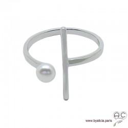 Bague avec perle de culture d'eau douce blanche, anneau ouvert et une barrette en argent massif, femme