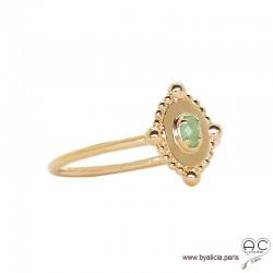 Bague fine, ovale serti d'une pierre verte, en plaqué or 3MIC et aventurine, pierre naturelle, empilable, femme