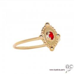Bague fine, ovale serti d'une pierre rouge, en plaqué or 3MIC et zirconium, empilable, femme